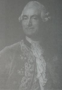Dyplomata francuski de Vergennes w białym fularze z żabotem