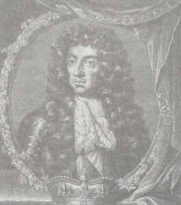 Karol II w krawacie uszytym według zaszczepionej przez siebie w Anglii mody francuskiej